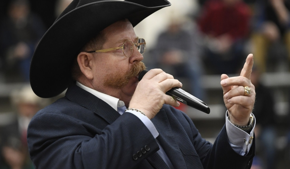 DENVER, CO - JANUARY 26: Auctioneer Sammy Hamblen from Pierce Colorado, auctions off items during the Colorado Auctioneers Foundation's first-ever Mile High Auctioneer Open in the Beef Palace at the National Western Stock Show January 26, 2019. Over 25 auctioneers competed for $10,000 in prize money. (Photo by Andy Cross/The Denver Post)
